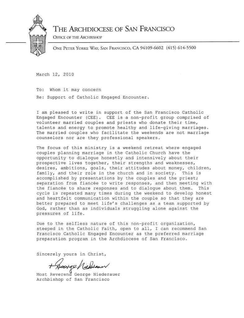 Letter from Archbishop Niederauer recommending SFCEE to all couples in the Archdiocese of San Francisco